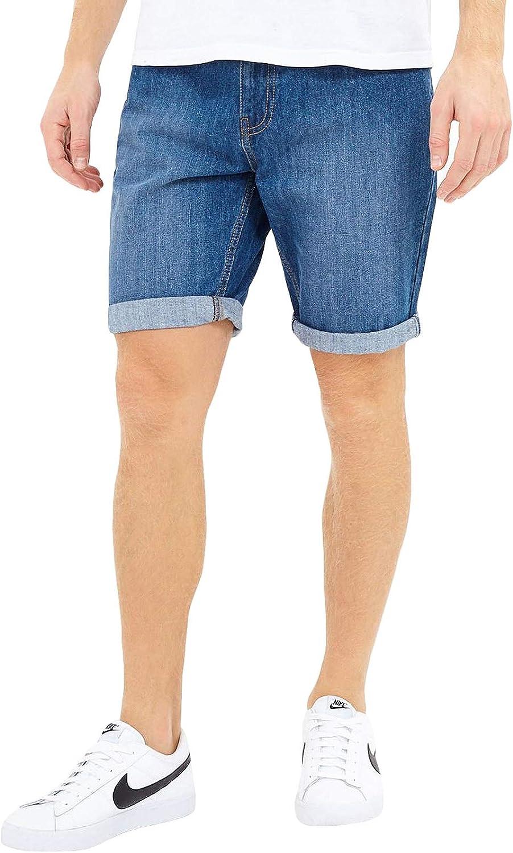 Brave Soul Mens Uganda Mid Denim Shorts Bottoms - Mid Blue
