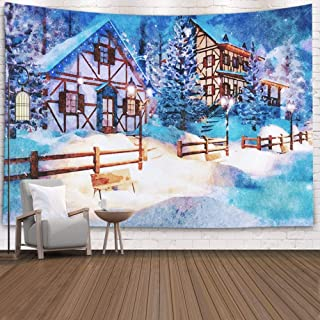 EMMTEEY Tapestries Decor Living Room Bedroom for Home Inhouse by Printed 80X60 Inches for Cozy Alpine Village High in Mountains with Rural Houses and Christmas Lights Snowy Winter Night,White Gray