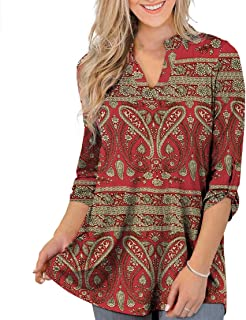 Othyroce Womens Floral Printed Tunic Tops 3/4 Roll Sleeve V Neck Blouses Long Sleeve Shirts for Women