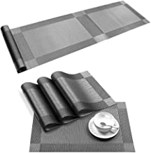 Table Runner with Grey Placemats Set Washable Heat Resistant Woven Vinyl Placemats Set of 6 and Runner for Dining Table