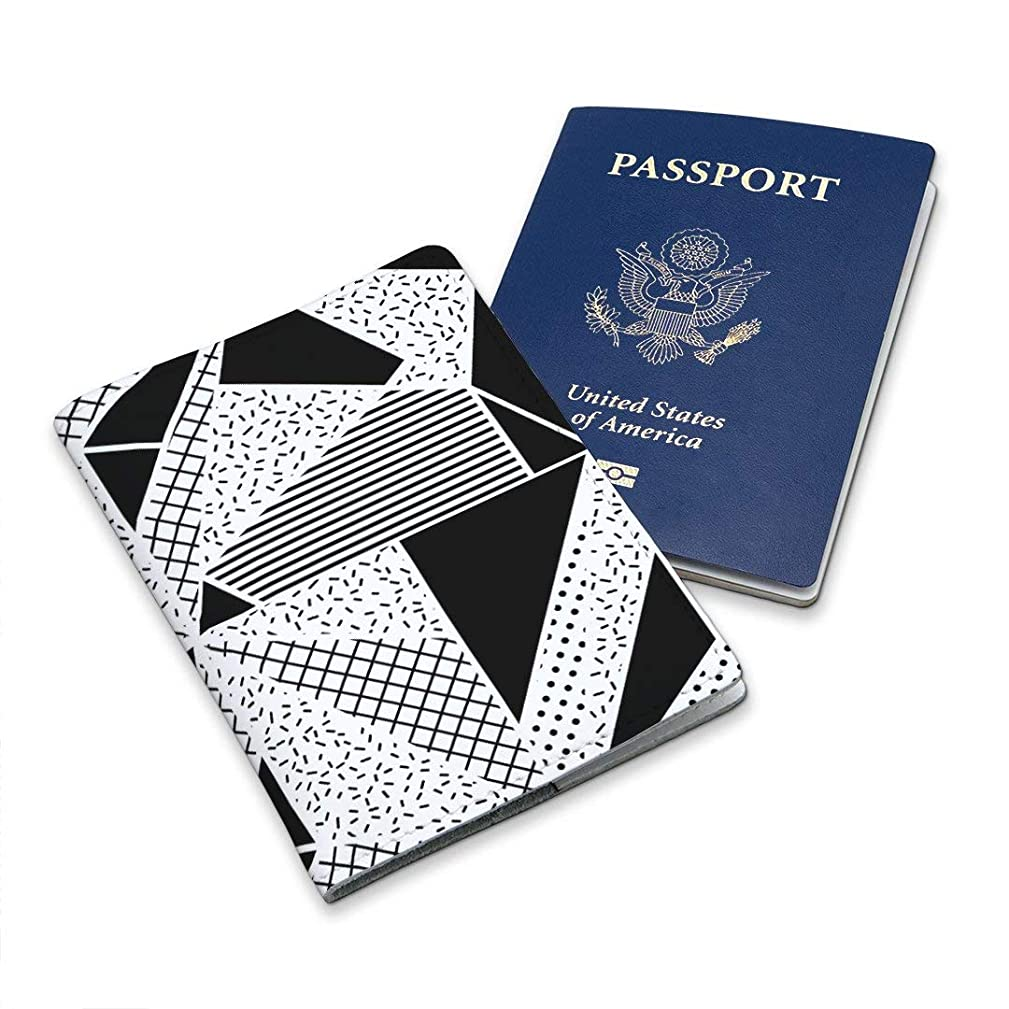 Leather White Soft Wallet Case Cover Holder For Passport With Black And White Geometry Triangles Design