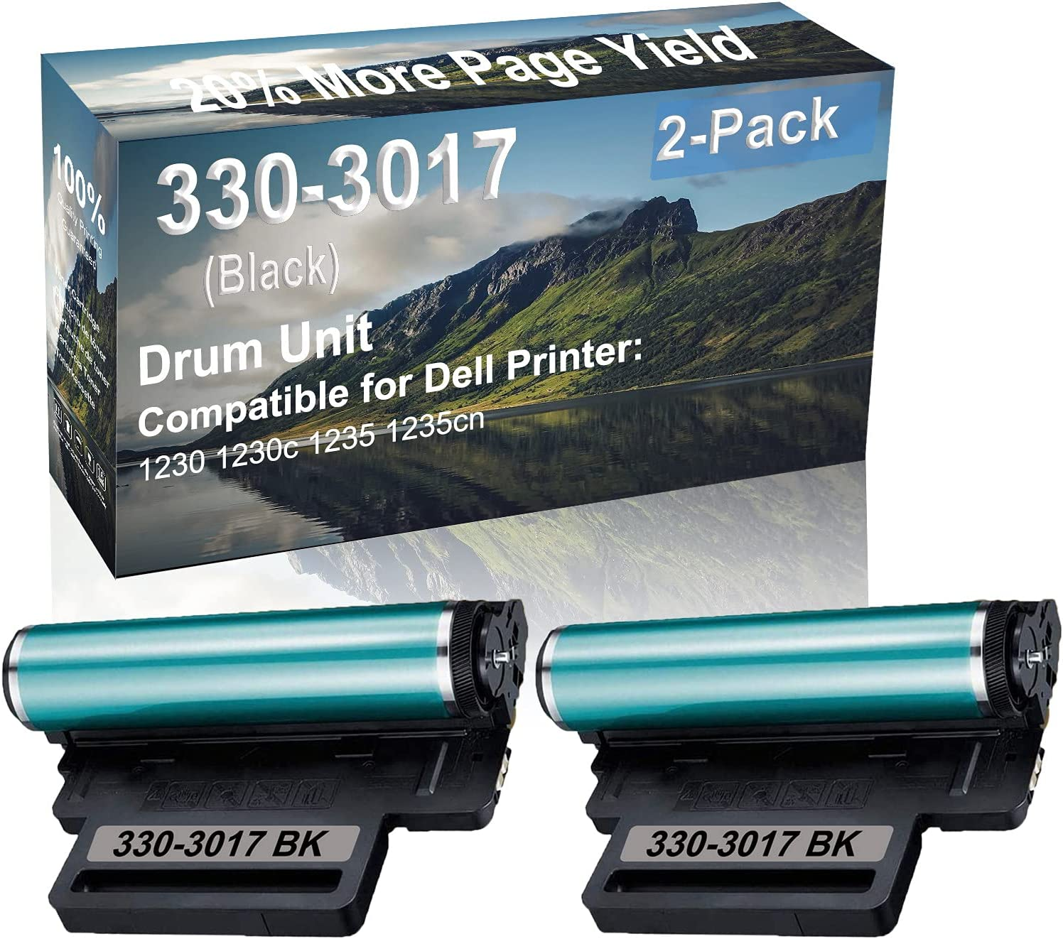 2-Pack Compatible Drum Unit (Black) Replacement for Dell 330-3017 Drum Kit use for Dell 1230 1230c 1235 1235cn Printer