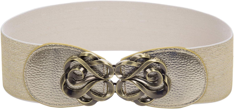 Wide Elastic Cinch Belt Party Belts gold Elastic Belt M CL4138