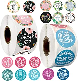 YKHENGTU Thank You Stickers Roll, 1.5 Inch Thank You Label Stickers Small Business for Bubble Mailers, Envelops Wedding Fa...
