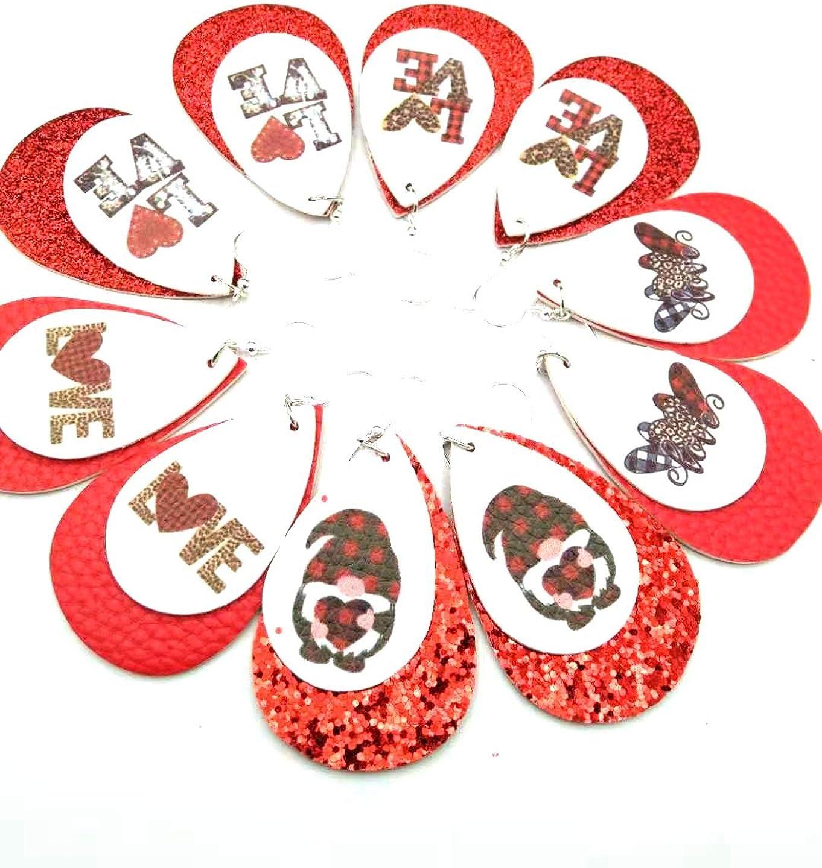 Leather Earrings Lightweight Teardrop Leaf Miami Mall favorite Faux