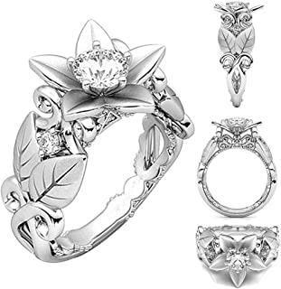 Balakie Beautiful Ring Women Floral Rose Lucky Flower Crystal Diamond Jewelry Gift Ring