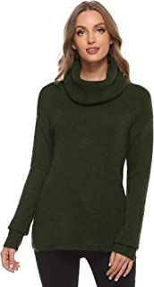 Woolicity Women's Cowl Neck Sweaters Long Sleeve Loose Fitting Knit Pullover Ribbed Cozy Soft Casual Tops
