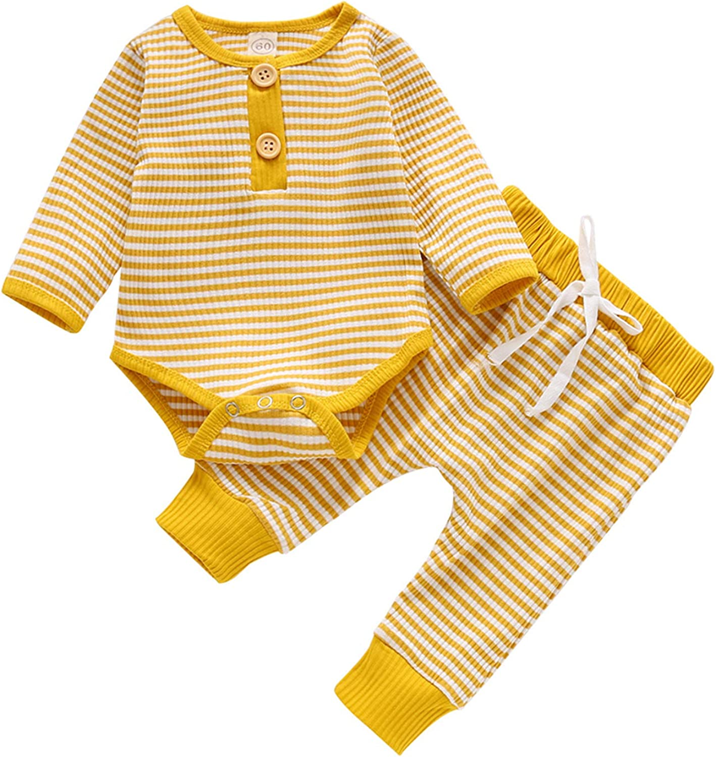 Newborn Baby Girls Knit Clothes Button Tops Shirt Stripe Pants with Drawstring Infant Boys 2Pcs Fall Winter Outfits Set