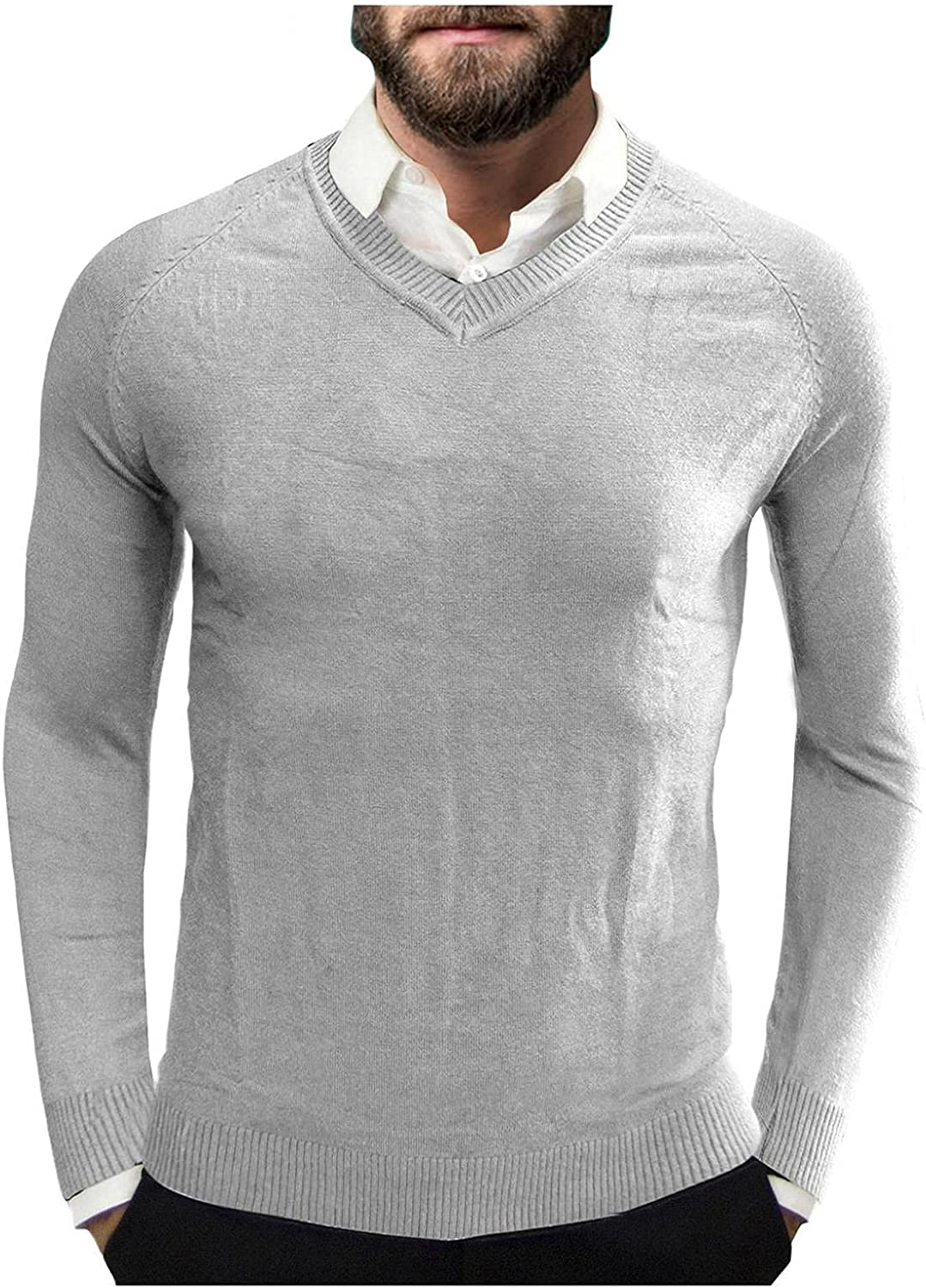 LEIYAN Mens Cable Knit Sweater Long Sleeve V-Neck Casual Slim Fit Thermal Comfy Jumper Pullovers Knitwear Tops