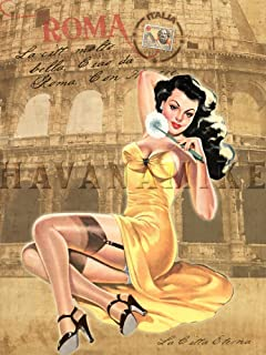 Rome Italy Vintage Italian Style Travel Print Pinup Girl Art Poster - Measures 24