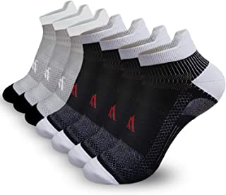 Ankle Compression Socks for Men Women - 3/7 Pairs Low Cut Compression Plantar Fasciitis Running Socks with Ankle Support