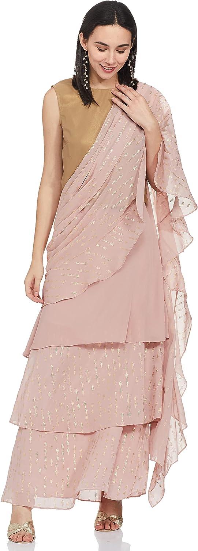 Indya Pink Ruffled Tiered Sari Skirt