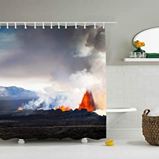Earth Volcanoes Iceland Eruption Lava Smoke Landscape Shower Curtain Liner, Waterproof No Chemical Odor Bathroom Curtain with Hooks, Antibacterial Bath Curtain for Dorms, Hotels 66