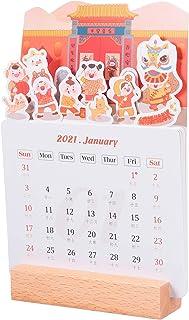 jojofuny 2021 Calendario de Escritorio Stand up Flip Calendar Page Turn Planner Pad Recordatorio de Horario para La Oficin...