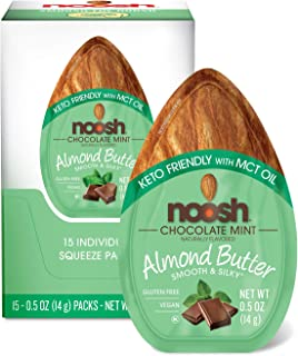 NOOSH Keto Friendly Chocolate Mint Almond Butter Packets 15ct (0.5oz) - Vegan, Gluten Free, Kosher, Non GMO, No Soy, No Dairy, No Peanuts, Keto Friendly, low carb (Chocolate Mint)