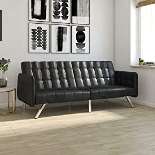 Wade Logan Littrell Convertible Sofa (Black Faux Leather)