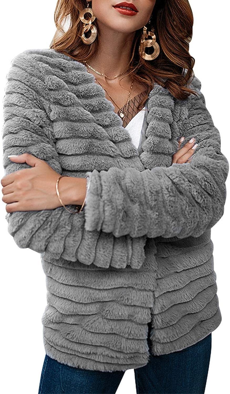 Carriemeow Women's Long Sleeve Solid color Open Front Faux Fur Coat