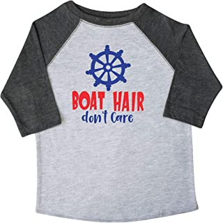 inktastic Boat Hair Don't Care, Steering Wheel - Red Blue Toddler T-Shirt