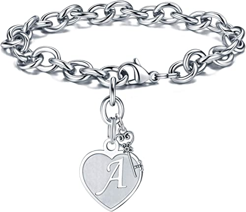 M MOOHAM Heart Initial Bracelets for Women Gifts - Engraved 26 Letters Initial Charms Bracelet Stainless Steel Bracel...