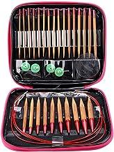 DeliaWinterfel Kit de 16 Pares //32 Unidades de 80cm Agujas de Hacer Punto Circulares de bamb/ú 2mm-12mm con Punta Ganchillo by