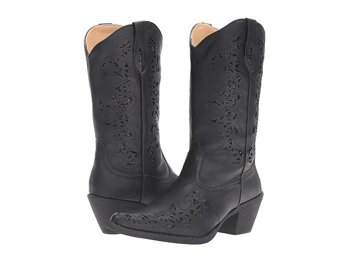 Roper  Alisa (Black Faux Leather) Cowboy Boots