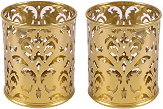 EasyPAG 2 Pcs 3-1/4 inch Dia x 3-3/4 inch High Round Floral Pen Holder,Gold