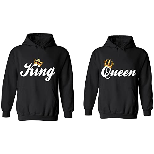 half off e1a0b fd16d King   Queen - Matching Couple Hoodies - His and Her Sweaters