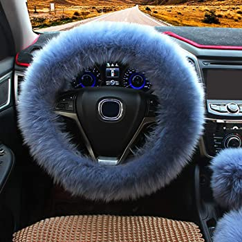 "Ogrmar Winter Warm Faux Wool Steering Wheel Cover with Handbrake Cover & Gear Shift Cover for 14.96"" X 14.96"" Steeling Wheel in Diameter 1 Set 3 Pcs (Grey-Blue)"