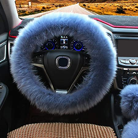 Fluffy Steering Wheel Cover,Fuzzy Steering Wheel Cover with Handbrake Cover Gear Shift Cover Set,Anti-Slip,Winter Warm Universal 15 Inch 1 Set 3 Pcs Black