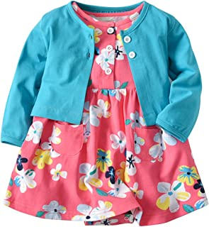 Baby Girls Dress Set Long Sleeve Coat+Floral Toddler Romper Dresses 2Pcs Baby Girl Set Outfit Clothes