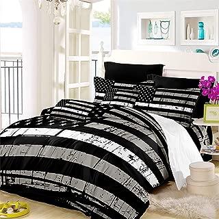 Oliven American Flag Quilt Cover Queen Size Valor Patriot Theme Digital Duvet Cover 3 Piece Bedding Set,Black White Gray