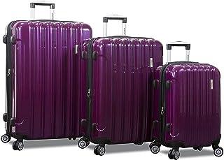 Dejuno Titan Jumbo Hardside 3-PC Spinner Luggage Set with TSA Lock, Purple, One_Size