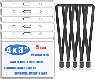 [Upgrade] 5 Pack Vaccine Card Protector with Lanyard (Black), Waterproof ID Card CDC Immunization Card Protector, Name Card Holder with Resealable Zipper