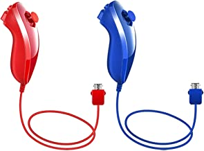 Poulep Nunchuk Nunchuck Controllers Joystick Gamepad Compatiable for Wii Wii U Console (Red and Deep Blue)