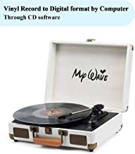 My Wave Turntable Portable Suitcase Record Player with Built-in Stereo Speakers,Vinyl-to-PC Recording,AUX in,RCA Out,Headphone Jack,White
