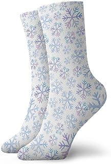 Luxury Calcetines de Deporte Snowflakes Watercolor Pattern Unisex Socks, All-Season Sports Workout Training Ankle Socks Crew Socks