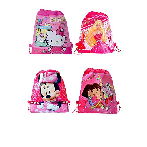 SR GIFTS Girls' Non Woven Fabric Cartoon Printed Haversack Bag (Multicolor)- Pack of 12