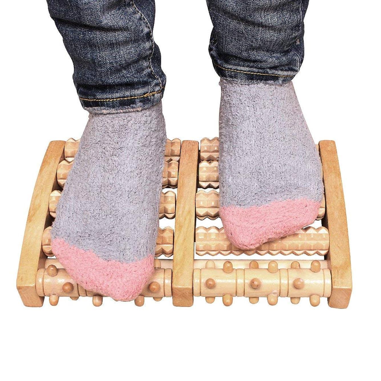 将来のショートポジション木の二重足のマッサージャー、足底筋膜炎のためのローラーの痛みの軽減治癒拍車ディープティッシュ指圧フット&ヒールマッサージャー
