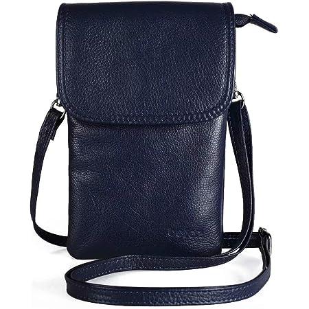 befen Echtleder Damen Umhängetasche Handtaschen, Kleine Handy Umhängetasche für Damen mit langem Gurt und Schlüsselring passend für Phone 8 Plus oder Handy mit einer Länge von max 16,5 cm