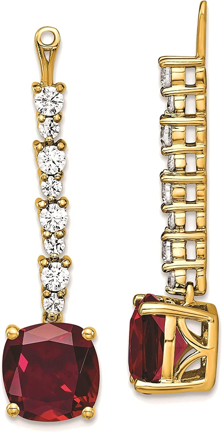 Lab Grown Diamond & Created Ruby Earring Jackets in 14K Yellow Gold