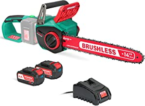 """Cordless Chainsaw 36V, HYCHIKA 8000RPM Brushless Electric Chainsaw with 14"""" Cutting Bar, 2Pcs 4.0A Batteries, Tool-Free Ch..."""