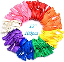 Wensty Party Balloons 12 Inches Rainbow Set (100 Pack), Assorted Colored Party Balloons Bulk, Made With Strong Latex, For Helium Or Air Use. Birthday Party Decorations