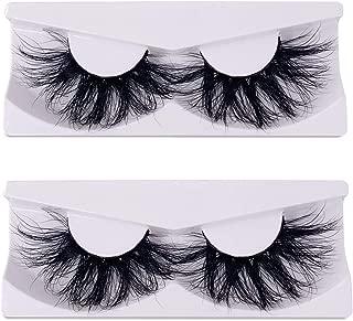 Newcally 25mm Real Mink Lashes 2 Pairs 5D Mink False Eyelashes Dramatic Long Thick Cross Lashes