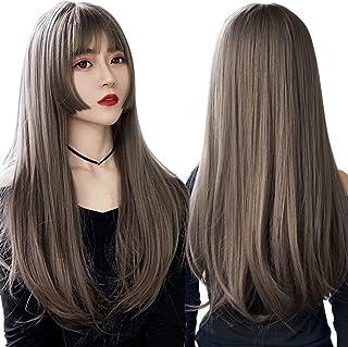 ウィッグ ストレート 姫カット カツラ Caseeto 姫髪 ロング かわいい 女の子 フルウィッグ ナチュラル 耐熱性 サラサラ ツヤなし 通気性バツグン 専用ネット2個付き