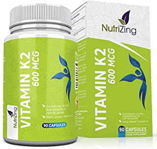 High Strength Vitamin K2 Supplement - 600mcg Vegan Vitamin K - 90 Capsules - Premium Source of VIT K2 MK7 by NutriZing - N...