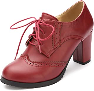 ec803afbe1 Odema Womens PU Leather Oxfords Brogue Wingtip Lace up Dress Shoes Chunky  High Heels Pumps Oxfords