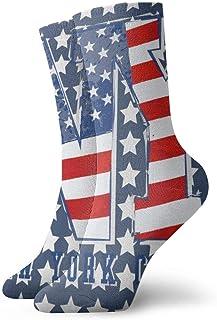 Jhonangel, Niños Niñas Locos Divertidos Estados Unidos Patriótico Bandera americana Nueva York Estrellas Rayas Calcetines lindos del vestido de la novedad