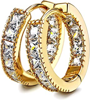 Kainier CZ Hoop Earrings with Cushion Cut Cubic Zirconia 14K White Gold Plated Earrings Wonderful Gift Choice for Girls Women and Men