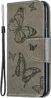 Miagon för Huawei P Smart 2021 Plånboksfodral, fjärilsdesign PU-läder flip fodral med kortspår magnetisk stängningsstativ ...