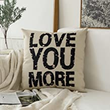 MIULEE Valentine's Day Love You More Cotton Linen Decorative Throw Pillow Case Cushion Cover Pillowcase for Sofa Bed Car 18 x 18 Inch 45 x 45 cm